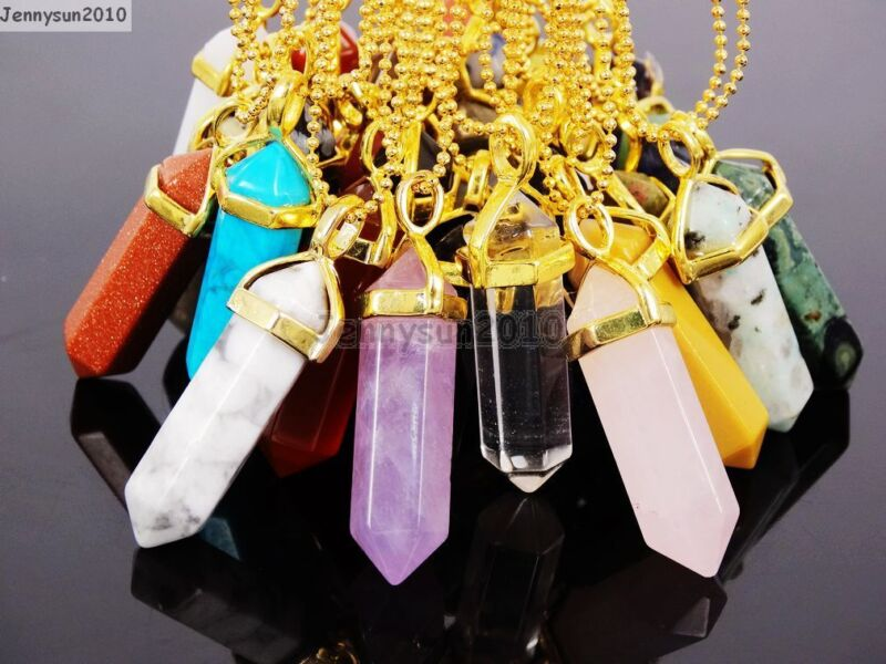 Natural Gemstones Hexagonal Pointed Reiki Chakra Pendant 18K Gold Chain Necklace