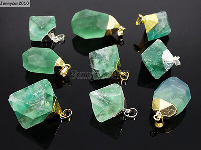 - Natural Green Fluorite Gemstone Oval Octagonal Pendant Charm Beads Necklace Gold