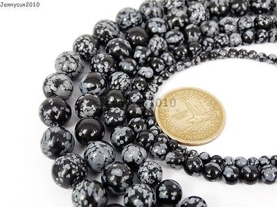 Natural Snow Flake Obsidian Gemstone Round Beads 15.5'' 4mm 6mm 8mm 10mm - Beaded Snowflakes