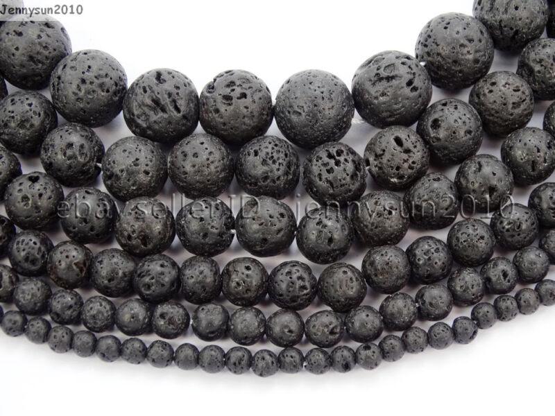 Natural Black Volcanic Lava Gemstone Round Beads 15.5
