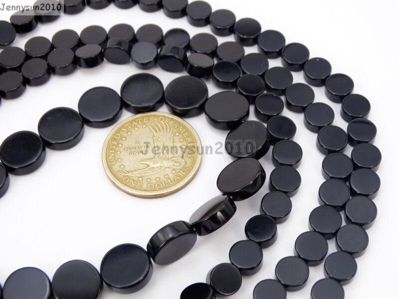 Natural Blak Onyx Gemstone Flat Round Coin Loose Beads 15