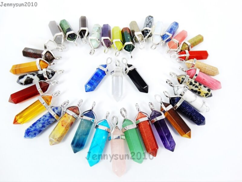 Natural Gemstones Hexagonal Pointed Reiki Chakra Pendant Charms Silver Plated