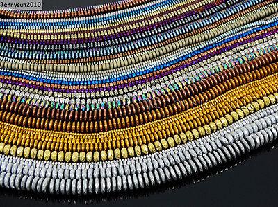Hematite Gemstone Rondelle Spacer Beads 16'' 2mm 3mm 4mm 6mm 8mm Smooth Faceted Rondelle Spacer Beads