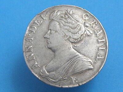 1707 'E' QUEEN ANNE - SILVER EDINBURGH CROWN COIN - SEXTO Edge - High Value