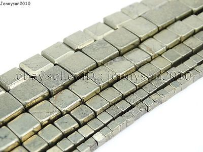 Natural Iron Pyrite Gemstone Square Cube Spacer Beads 15'' 3mm 4mm 6mm 8mm 10mm