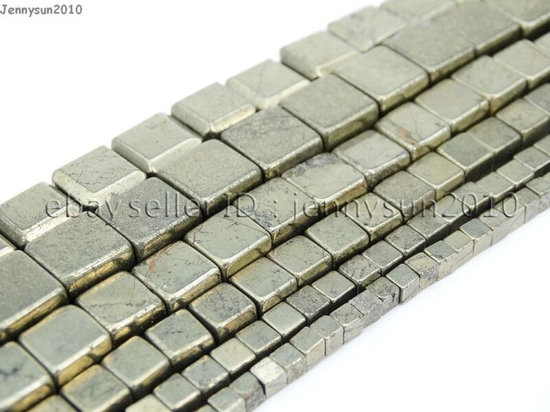Natural Iron Pyrite Gemstone Square Cube Spacer Beads 15