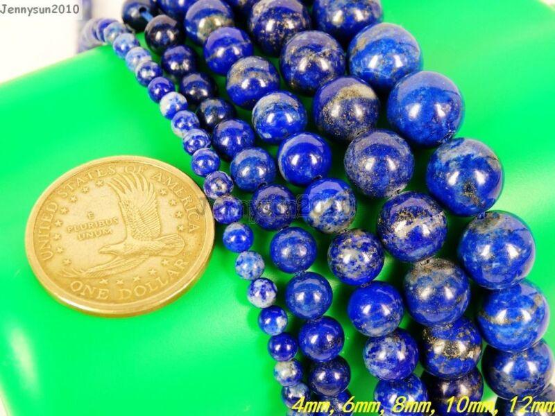 Natural Lapis Lazuli Gemstone Round Beads 15.5