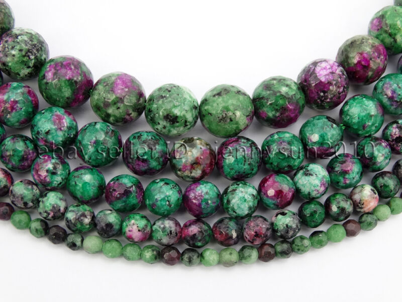 Natural Ruby Zoisite Gemstone Faceted Round Beads 15.5