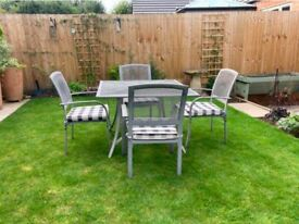 Garden Table and 4 Chairs. Aluminium