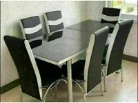 FRESH NEW EXTENDABLE GLASS DINING TABLE SETS WITH FAUX LEATHER CHAIR OPTIONS