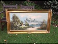 Antique Oil Painting Alpine Landscape Large Ornate Picture Frame