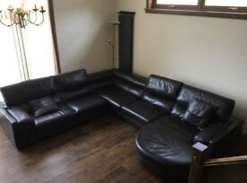 LARGE BROWN LEATHER SUITE WITH SWIVEL TUB CHAIR