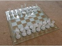 FINE ALL GLASS CHESS SET
