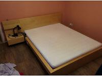 IKEA Malm bed frame + mattress + side table - birch veneer