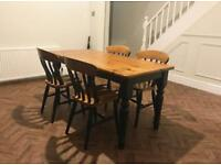 Restore wooden dining room table with 4 chairs