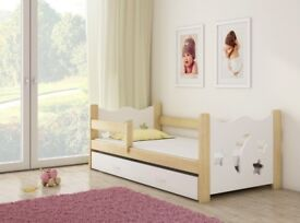 NEW CHILDREN'S SOLID PINE WOODEN BED WITH DRAWER AND MATTRESS