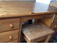 dresser desk chest with 6 drawers in real pine wood with stool