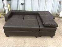 Dark Brown Leather Corner Sofa with Ottoman & Footstool / Sofa Bed