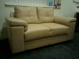 Two Seater Leather Settee Sofa Chair Cream