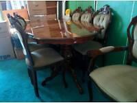 8 seater mahogany Italian dining table