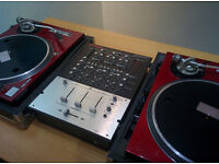 Technics 1200's in flight cases and Vestax PMC-27 Mixer