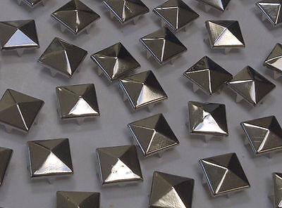 CraftbuddyUS 100 x 10mm Silver Square Pyramid Studs Goth Leathercraft Denim