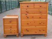 Real pine chest of drawers with matching bedside