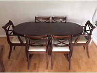 Vintage Dining Table with Six Chairs