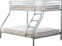 NEW strong silver or black metal triple bunk beds Only £189 available today