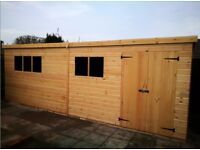 16x8FT LARGE PENT T&G HEAVY DUTY TIMBER STORAGE SHED WORKSHOP FULLY FITTED