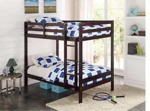 LORD SELKIRK FURNITURE - DALLAS TWIN / TWIN BUNK BED IN ESPRESSO, WHITE AVAILABLE