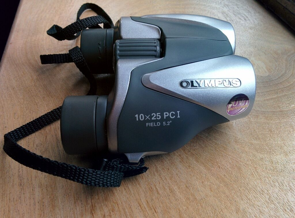 Olympus 10 x 25 PC I compact silver binoculars case and strap