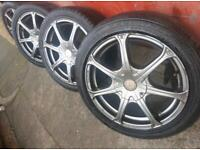 "17"" multifit alloy wheels vauxhall saab bmw 5 x 120 and 5 x 110"