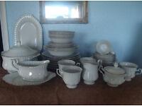 Dinner & Tea Service 45 Pieces. New & Unused.Pure White with Goldline.