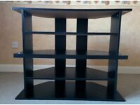 Corner TV Stand/Unit - 3 or 5 Shelves - Black wood effect - Very Good Condition