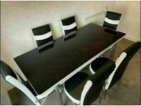 🔥😍 BRAND NEW DESIGNER STYLE EXTENDABLE DINING TABLE WITH 4 OR 6 FAUX LEATHER CHAIRS