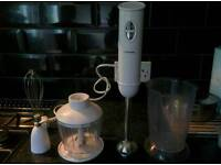 Cookworks hand blender with accessories - stainless steel