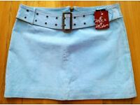 VINTAGE Wit & Wisdom 1990's SUEDE LEATHER MINI SKIRT Short Bue Belted Buckle Satin lined 1960 Style