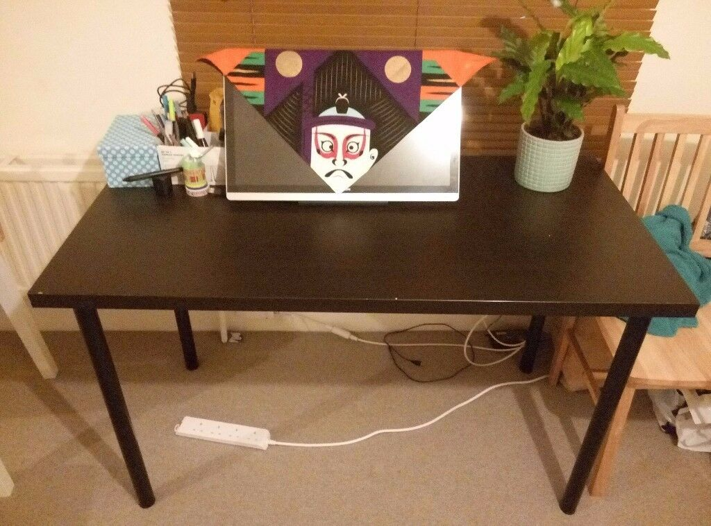 Ikea Desk Linnmon Dark Wood Table Top And X4 Black Adils Legs