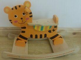 Wooden rocking tiger