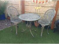 Aluminium Table Chair set patio bistro garden