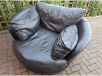 3 seater sofa and swivel chair. Dark brown real leather. Delivery is possible