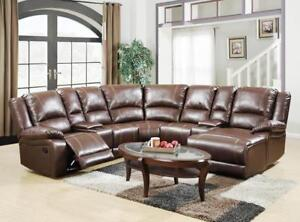 5 PC LEATHER AIR SECTIONAL W/ 2 RECLINERS & CHAISE LOUNGER $ 1698