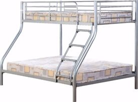 NEW strong silver or black metal triple bunk beds can be split into a single & a double £189