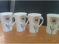 4X FINE CHINA MUGS. NEW,