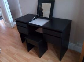 Black dressing table with stool