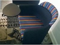 A New Designer Dark Grey/multi-colour Tub Chair