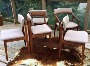 5 Mid Century Modern Solid Teak Dining Chairs REFINISHED REUPHOLSTERED Grey -Jan Kuypers (4 Side Chairs and 1 Arm Chair)