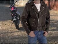 Motorcycle Jacket - Brando Style, heavy leather, XL