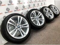 GENUINE BMW 3/4 SERIES M SPORT ALLOY WHEELS & TYRES - 5 X 120 - GLOSS SILVER